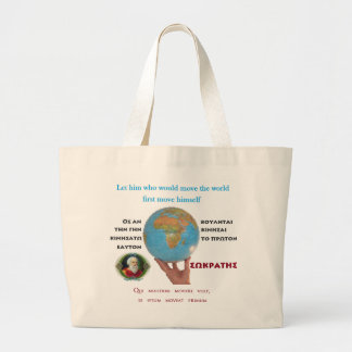 Socrates famous quote –Move the world Jumbo Tote Bag