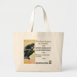 Socrates famous quote -Wisdom begins in wonder Large Tote Bag