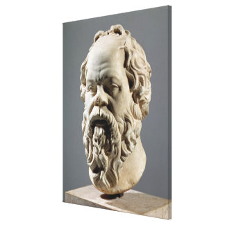 Socrates, marble head, copy from a bronze from the canvas print