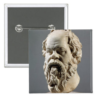 Socrates, marble head, copy from a bronze from the pinback button