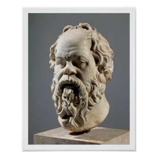 Socrates marble head copy from a bronze from the print