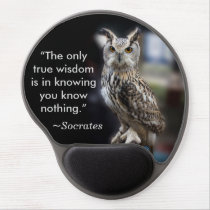 Socrates Quote Eagle Owl Gel Mouse Pad