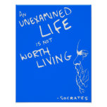 "Socrates' ""Unexamined Life"" Quote Poster (Blue)"