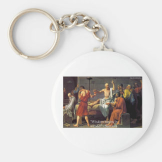 """Socrates """"Wisdom/Wonder"""" Quote Gifts Tees & Cards Keychain"""