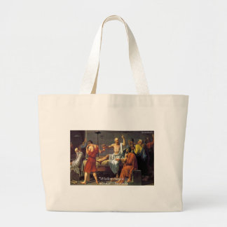 "Socrates ""Wisdom/Wonder"" Quote Gifts Tees & Cards Large Tote Bag"