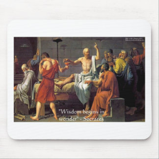 """Socrates """"Wisdom/Wonder"""" Quote Gifts Tees & Cards Mouse Pad"""
