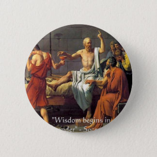 "Socrates ""Wisdom/Wonder"" Quote Gifts Tees & Cards Pinback Button"