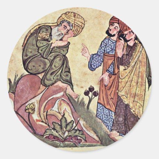 Sócrates y dos estudiantes por el al-Mubash del Pegatina Redonda
