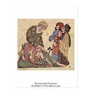 Sócrates y estudiantes por el amo del manuscrito postales