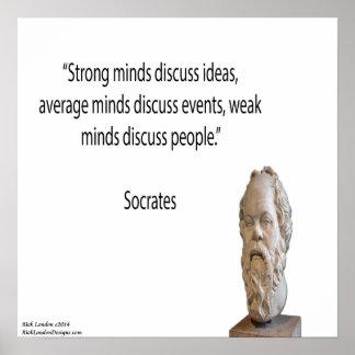 Sócrates y poster fuerte de la cita de las mentes