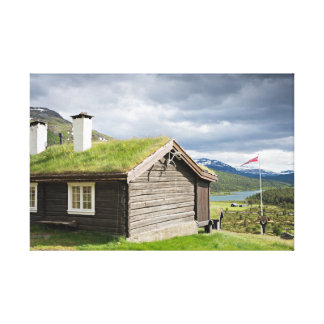 Sod roof log cabin in Norway canvas