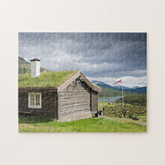 Sod roof log cabin in Norway jigsaw puzzle