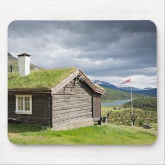 Sod roof log cabin in Norway mousepad