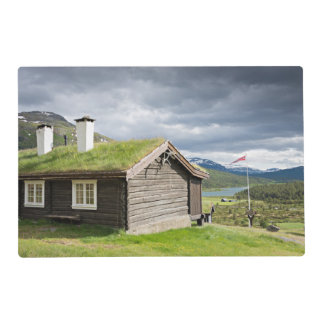 Sod roof log cabin in Norway placemat