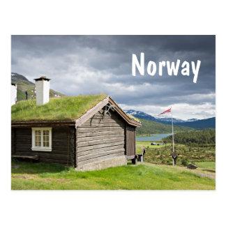 Sod roof log cabin in Norway postcard