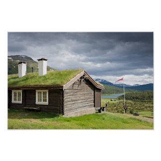 Sod roof log cabin in Norway poster