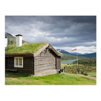 Sod roof log cabin postcard