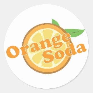 Soda anaranjada pegatina redonda