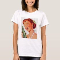 Soda Bottle Old Ads Vintage Model Painting Woman T-Shirt