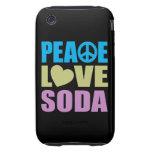 Soda del amor de la paz tough iPhone 3 protectores