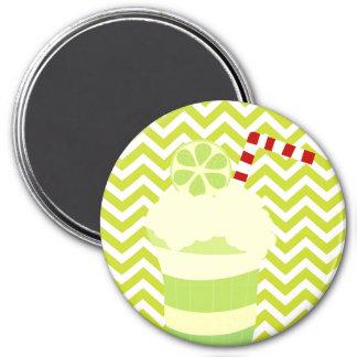Soda del helado en modelo verde de la raya de imán redondo 7 cm