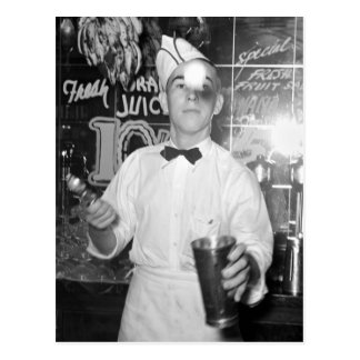 Soda Jerk 1930s Post Card