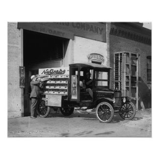 Soda Pop Delivery Truck, 1924. Vintage Photo Poster