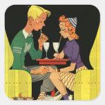 Soda Pop for Two - Vintage Illustration Square Sticker