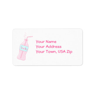Soda rosada etiqueta de dirección