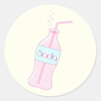 Soda rosada pegatina redonda