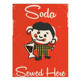Soda Served here vintage Drinks commercial Postcard