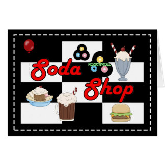 Soda Shop Rock 'n' Roll Retro Party Time Greeting Card