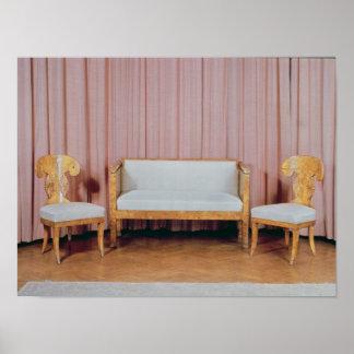 Sofa and two chairs, Karelian birch, 1810-20 Poster