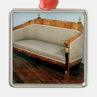 Sofa, Biedermeier style, c.1820 Square Metal Christmas Ornament