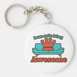 Sofa King Awesome Basic Round Button Keychain