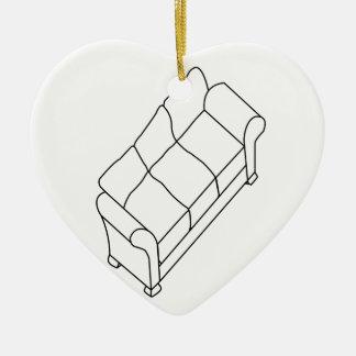 sofá moderno adorno navideño de cerámica en forma de corazón