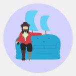 Sofa Pirate Round Stickers
