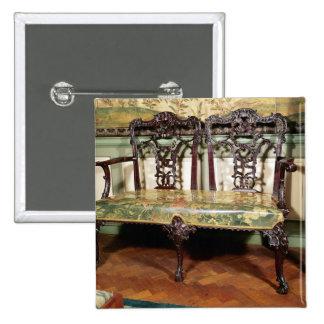 Sofá tallado, con el asiento de la tapicería, simi pin cuadrado