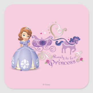Sofía: Aliste para ser una princesa Colcomanias Cuadradas Personalizadas