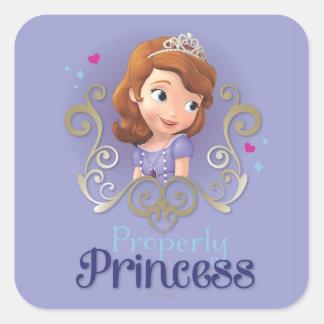 Sofía: Correctamente princesa Pegatina Cuadrada