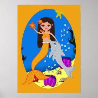 Sofía el poster anaranjado de la sirena y del delf