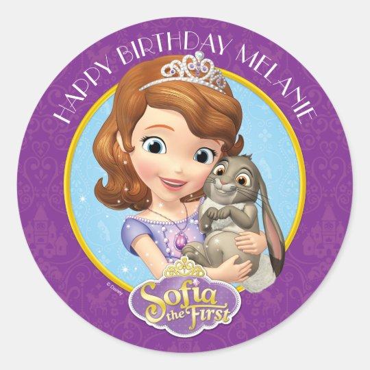 Sofia The First Birthday Classic Round Sticker Zazzle Com