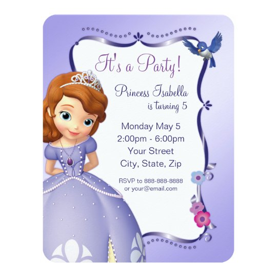 Sofia The First Birthday Invitation Zazzlecom - Sofia the first party invitation template