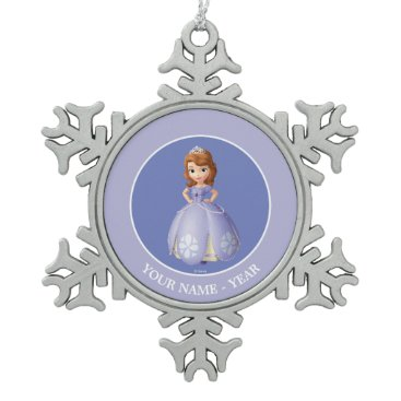 Disney Themed Sofia The First   Standing Add Your Name Snowflake Pewter Christmas Ornament