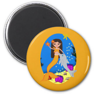 Sofia the Orange Mermaid and Dolphin Magnet