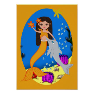 Sofia the Orange Mermaid and Dolphin Poster