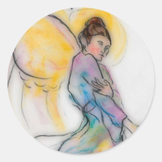 soft angel classic round sticker