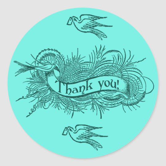 Soft Aqua Blue Thank You Stickers