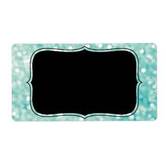 Soft Aqua Bokeh Lights Glitter Sparkles Label