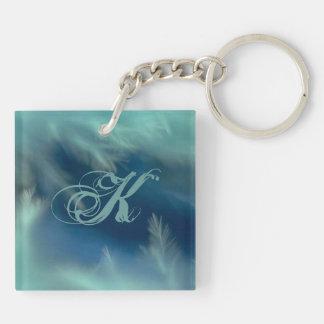 Soft Aqua Feathers Custom Initial Keychain